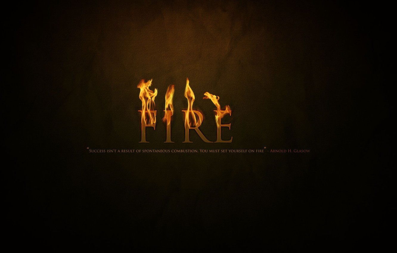 Photo wallpaper fire, the inscription, black background