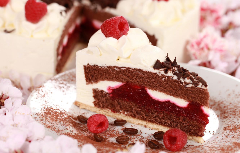 Photo wallpaper berries, raspberry, coffee, chocolate, cake, cream, dessert, cakes, sweet, piece