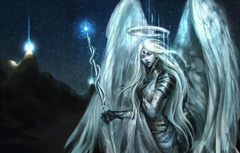Photo wallpaper girl, light, night, mountain, angel, staff, angel, NazNemati