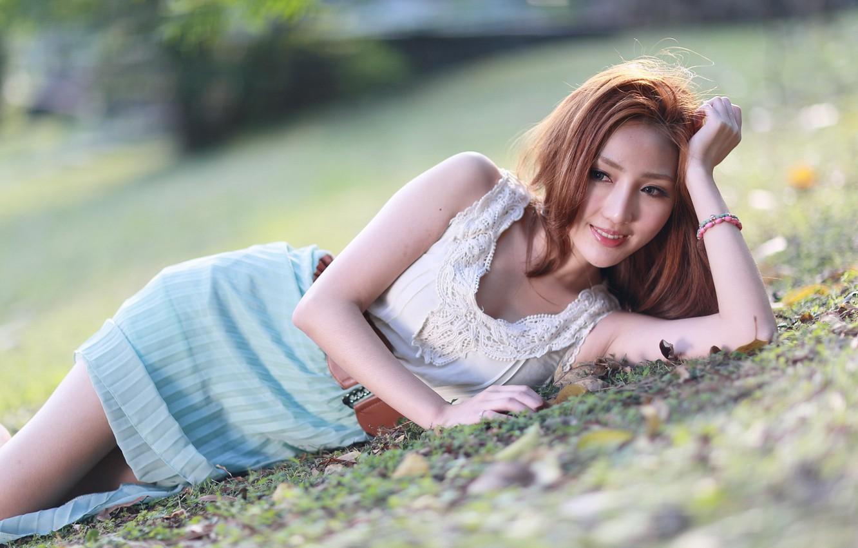 Photo wallpaper girl, pose, Asian