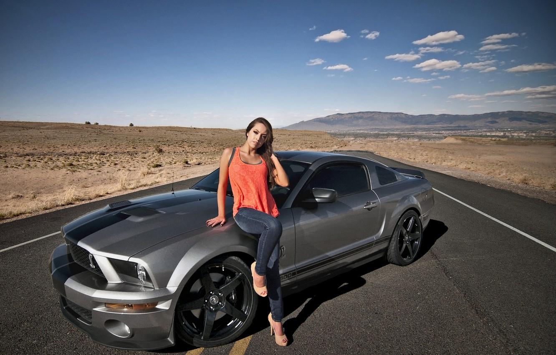 Photo wallpaper road, girl, desert, Shelby, GT500, Ford Mustang