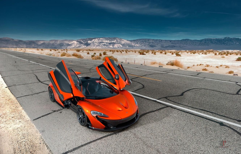 Photo wallpaper McLaren, Orange, Front, Hybrid, Death, Sand, Supercar, Valley, Hypercar, Exotic, Volcano, Doors