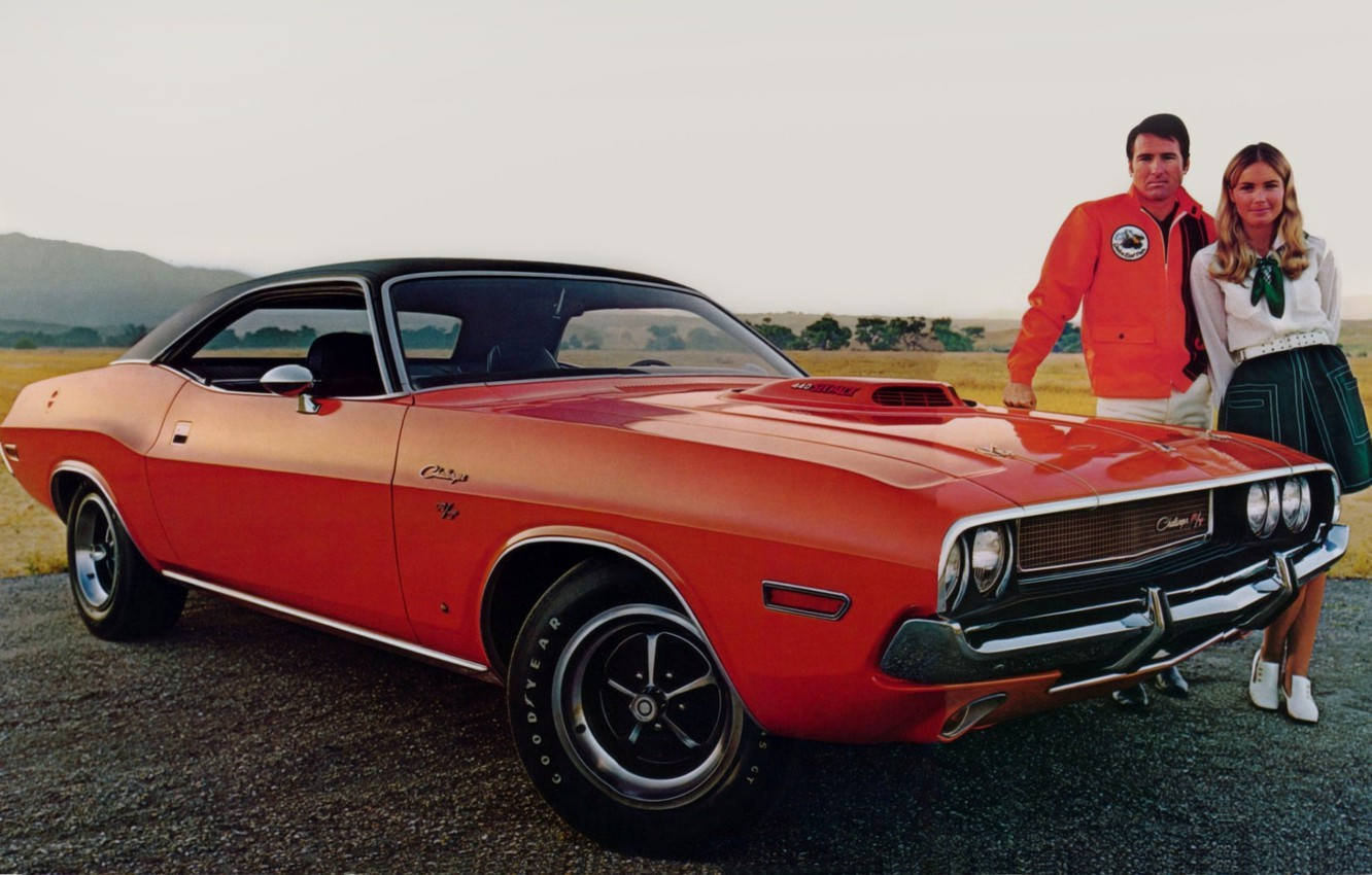 Photo wallpaper girl, background, Dodge, Dodge, Challenger, guy, 1970, the front, Muscle car, Muscle car, R T, …