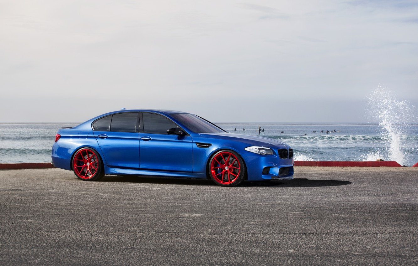 Photo wallpaper sea, blue, BMW, BMW, red, red, wheels, drives, side view, f10, monte carlo blue