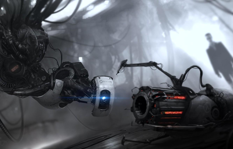 Photo wallpaper half-life, G-Man, Portal 2, GLaDOS, the gravity gun