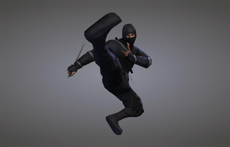 Photo wallpaper weapons, sword, ninja, blade, ninja, black suit