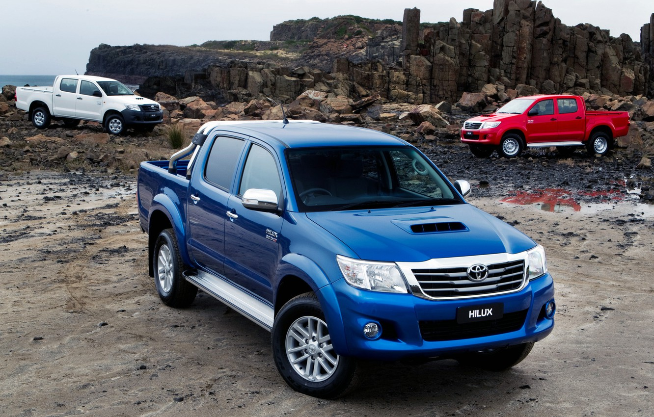 Photo wallpaper Red, Auto, Blue, White, Wallpaper, Japan, Toyota, Car, Pickup, Auto, Hilux, Wallpapers, Toyota, Hilux, Picup