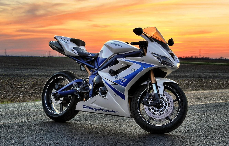 Photo wallpaper white, sunset, motorcycle, white, bike, sunset, triumph, triumph, Dayton, daytona 675