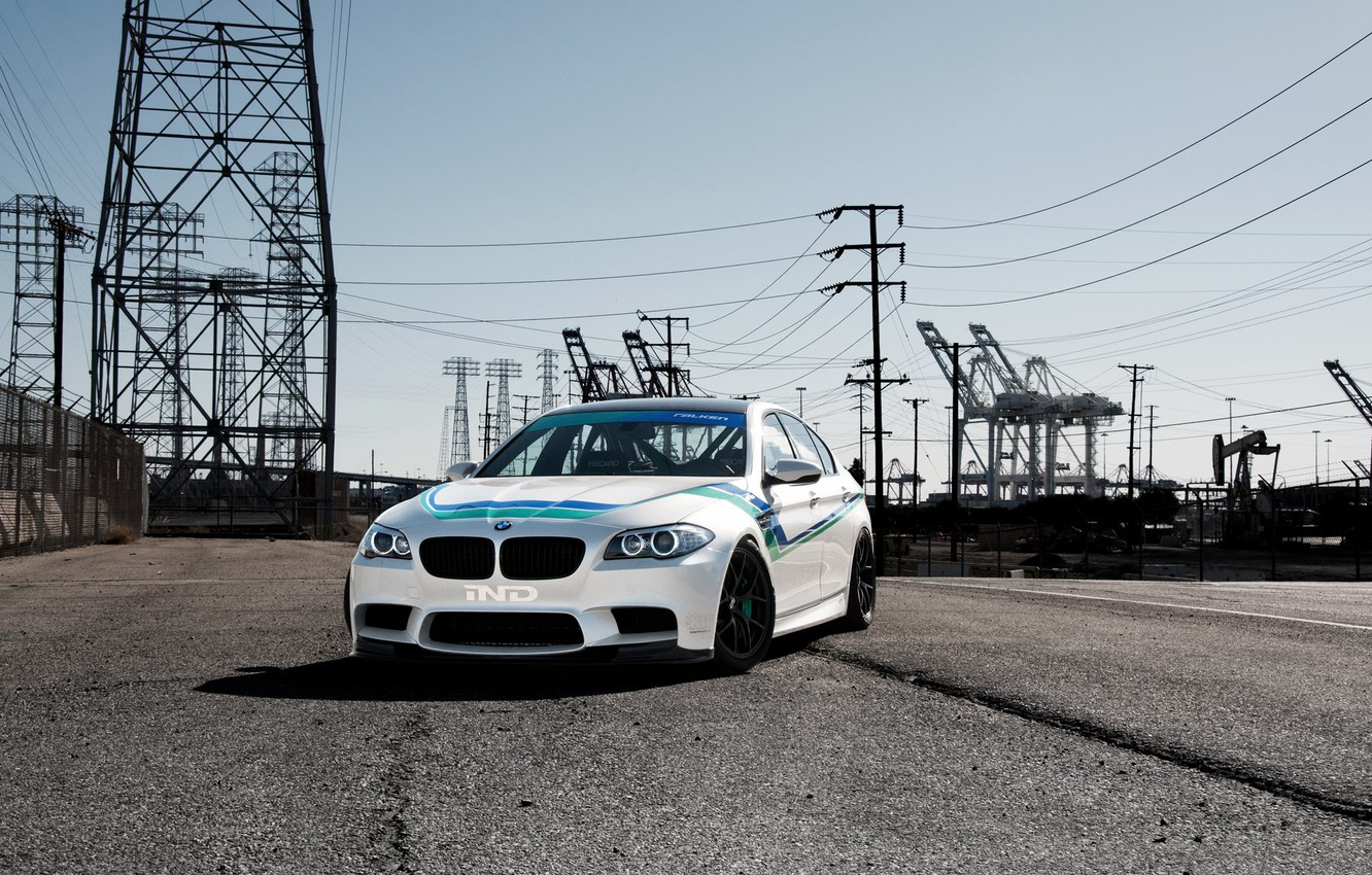 Photo wallpaper white, light, bmw, BMW, white, front view, f10, day, high-voltage support, power lines
