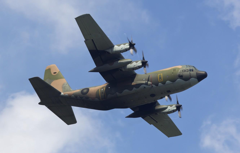 Photo wallpaper the sky, flight, the plane, Lockheed, military transport, Hercules, C-130H
