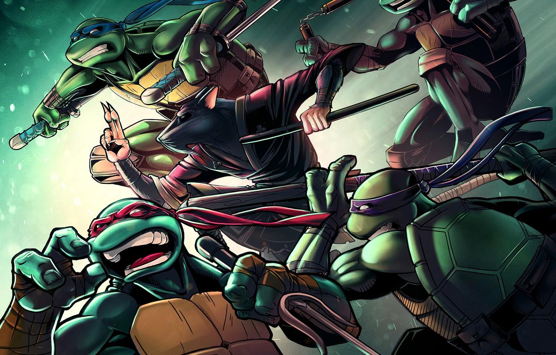 Photo wallpaper turtle, rat, tmnt, mutant, Raphael, Leonardo, Donatello, Splinter, Teenage Mutant Ninja Turtles, Michelangelo