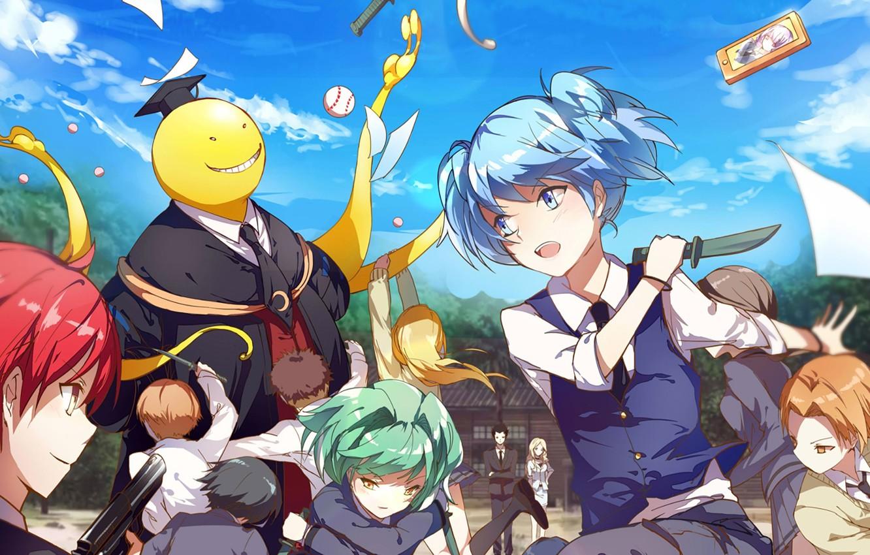 Photo wallpaper children, weapons, anime, Ansatsu Kyoushitsu, Assassination Classroom, the class assassins, Koro Sensei