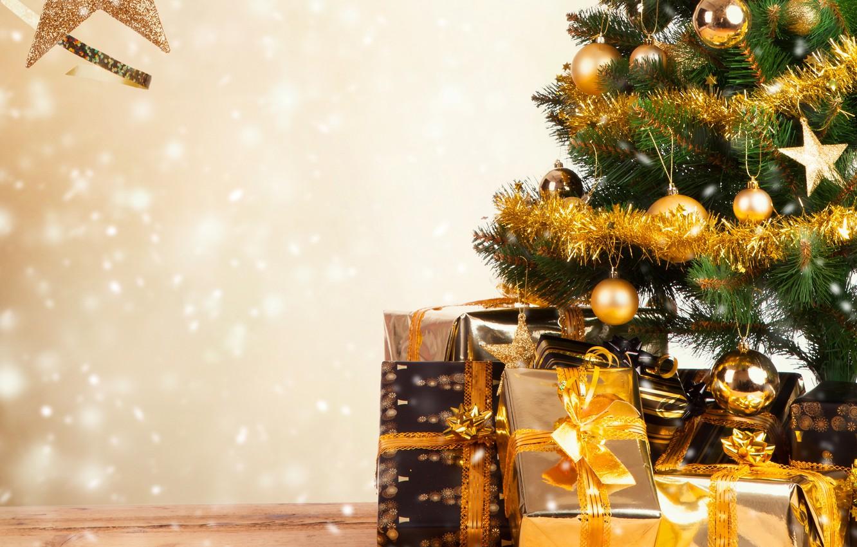 Photo wallpaper holiday, Wallpaper, toys, tree, gifts, New year, tinsel, box, New Year
