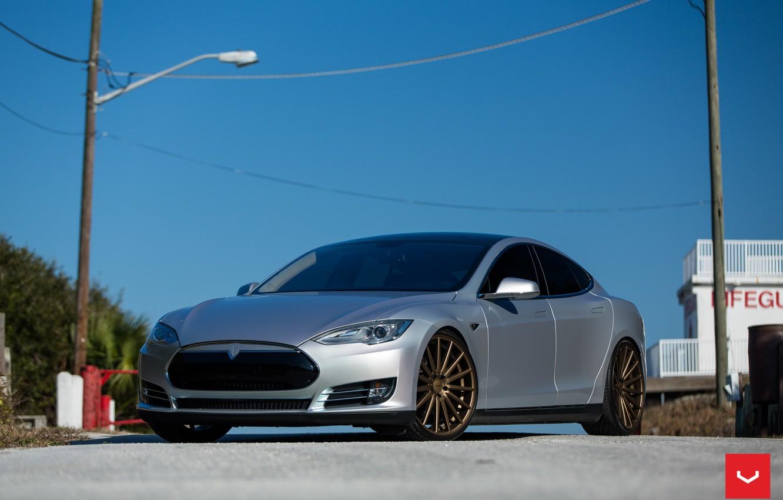 Photo wallpaper Tesla, Vossen, Wheels, Model S, P85, VFS-2