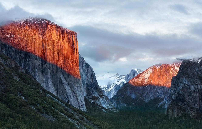 Photo wallpaper winter, landscape, mountains, nature
