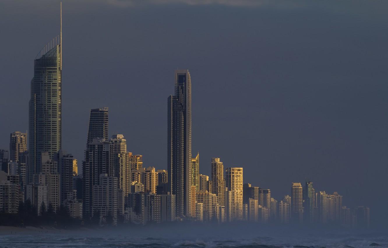 Photo wallpaper city, wallpaper, sea