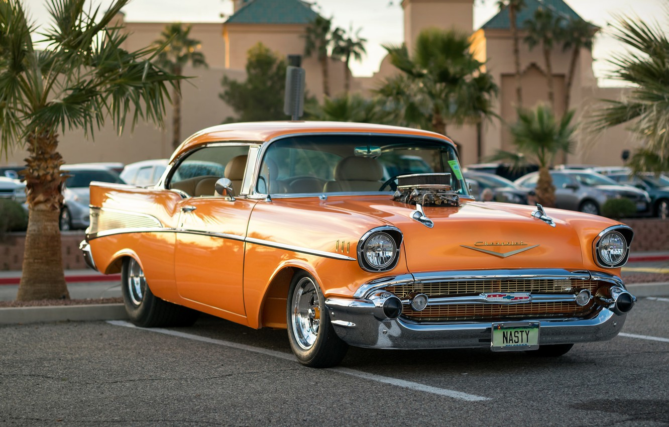 Photo wallpaper Chevrolet, classic, the front, 1957