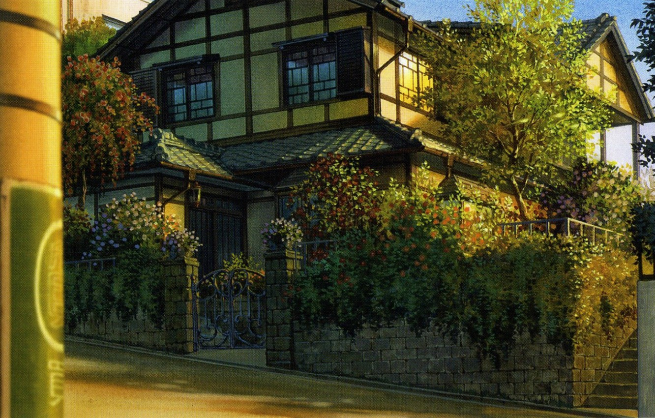 Photo wallpaper summer, trees, house, street, the fence, plants, the evening, wicket, art, the Girl who Leapt …