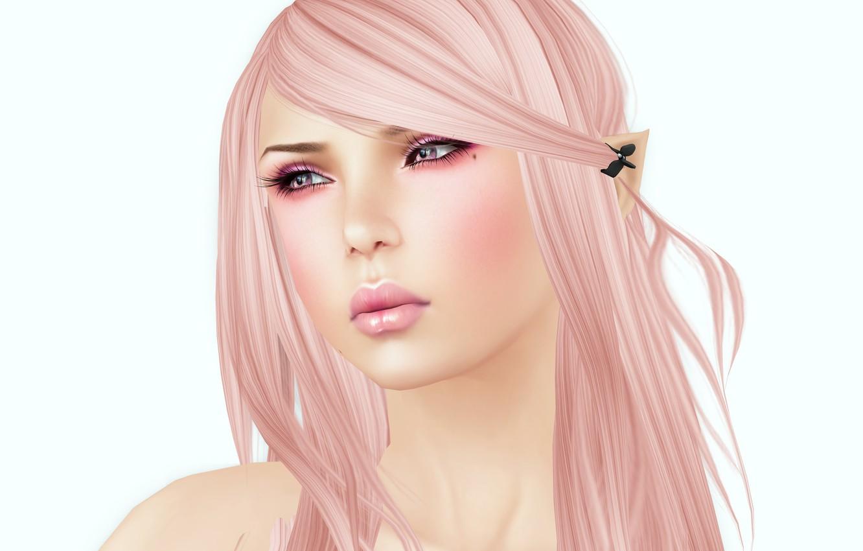 Photo wallpaper girl, white background, render, pink hair