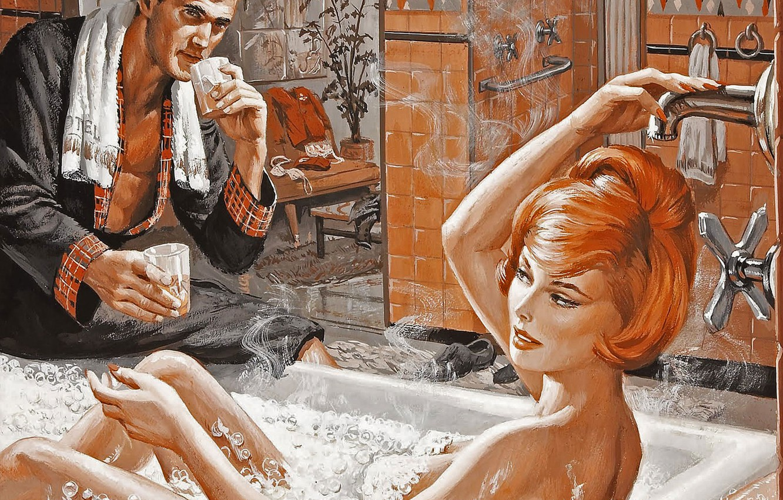 Photo wallpaper foam, girl, figure, bath