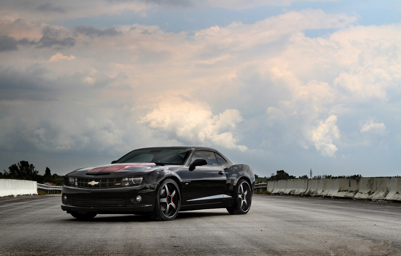 Photo wallpaper road, the sky, clouds, black, Chevrolet, chevrolet, clouds, camaro ss, Camaro, blacksky, red stripes