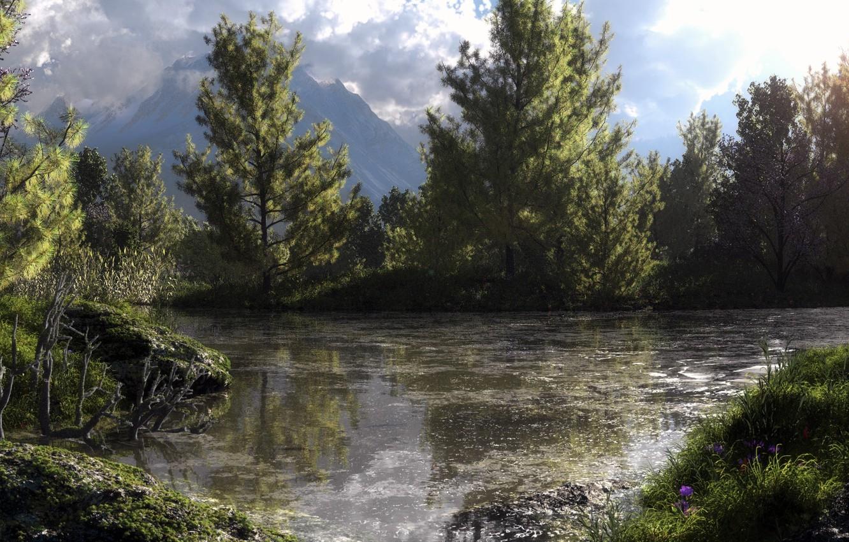 Photo wallpaper forest, trees, mountains, nature, lake, pond, swamp, art, Klontak