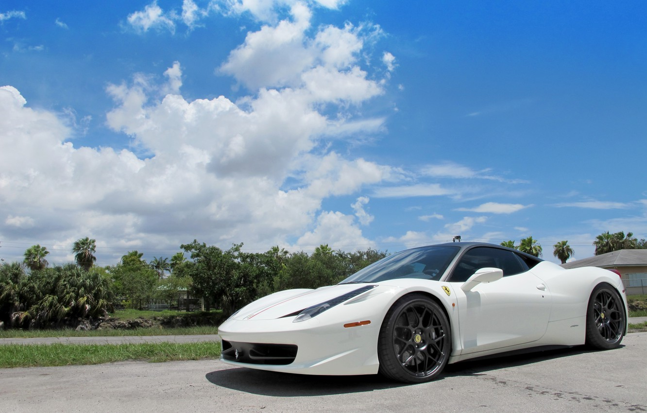 Photo wallpaper white, the sky, clouds, shadow, white, ferrari, Ferrari, sky, Italy, clouds, 458 italia, Miami, miami
