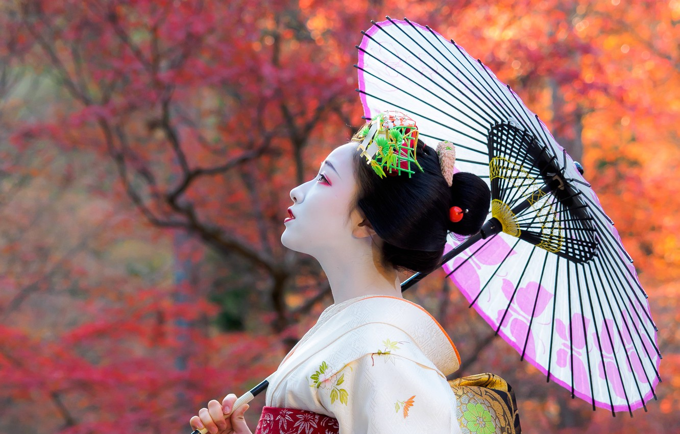 Wallpaper Autumn Girl Japan Umbrella Geisha Girl Kimono