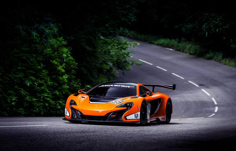 Photo wallpaper McLaren, Auto, Road, Forest, Machine, Asphalt, Orange, Day, GT3, Sports car, 650S