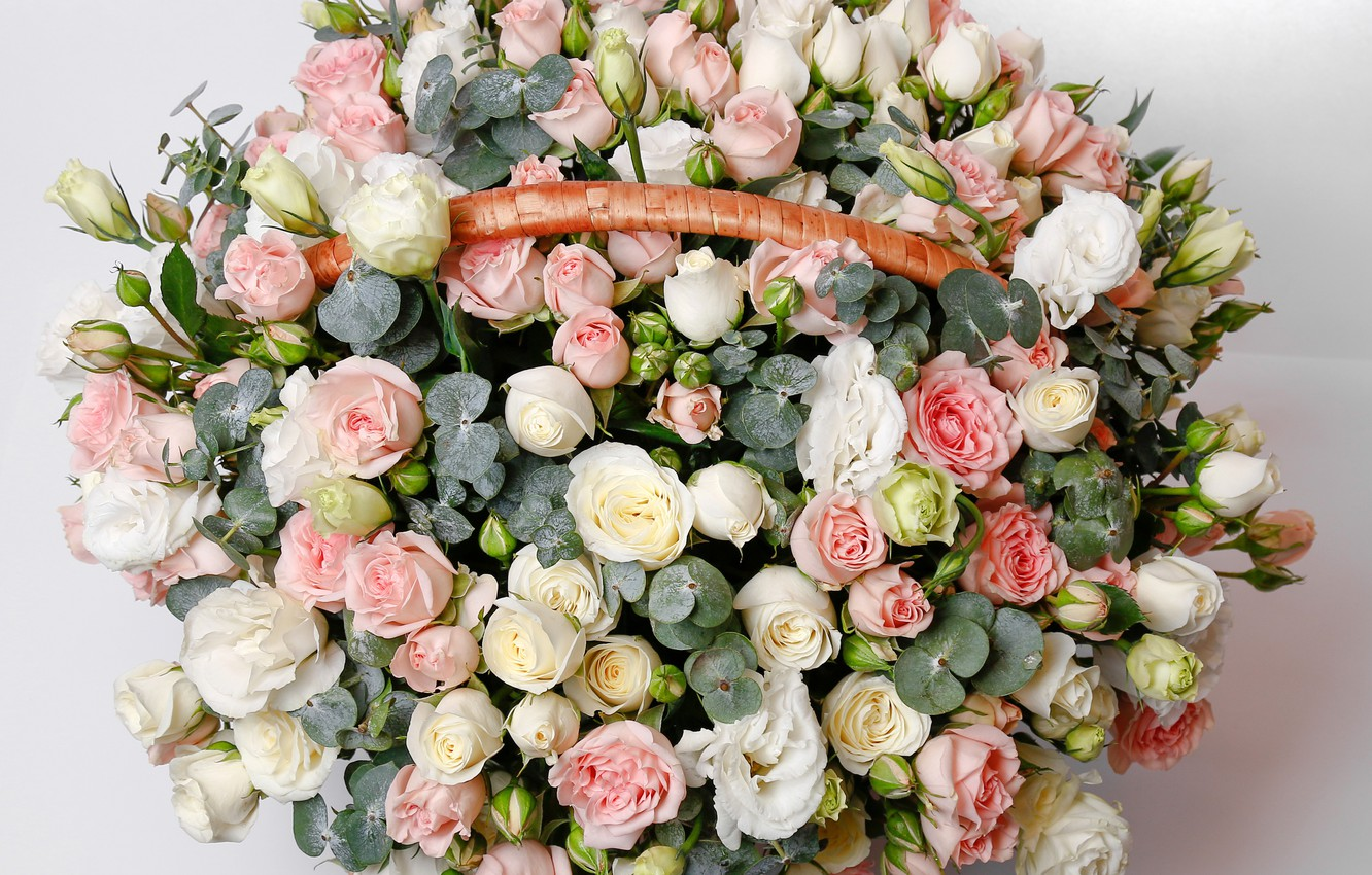 Photo wallpaper basket, roses, bouquet, buds, Roses, basket, eustoma, luxury, Bouquets