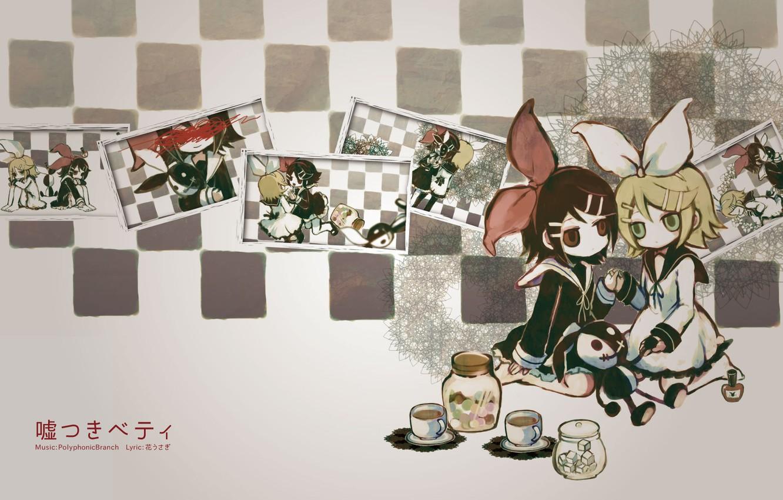 Photo wallpaper girls, tea, toy, bows, vocaloid, Kagamine Rin, Vocaloid