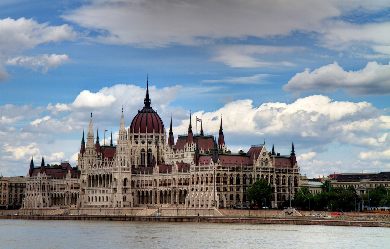 Photo wallpaper the sky, clouds, the city, river, the building, Parliament, Hungary, Hungary, Budapest, The Danube, Budapest, …
