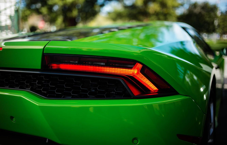 Photo wallpaper green, bokeh, Lamborghini Hurricane