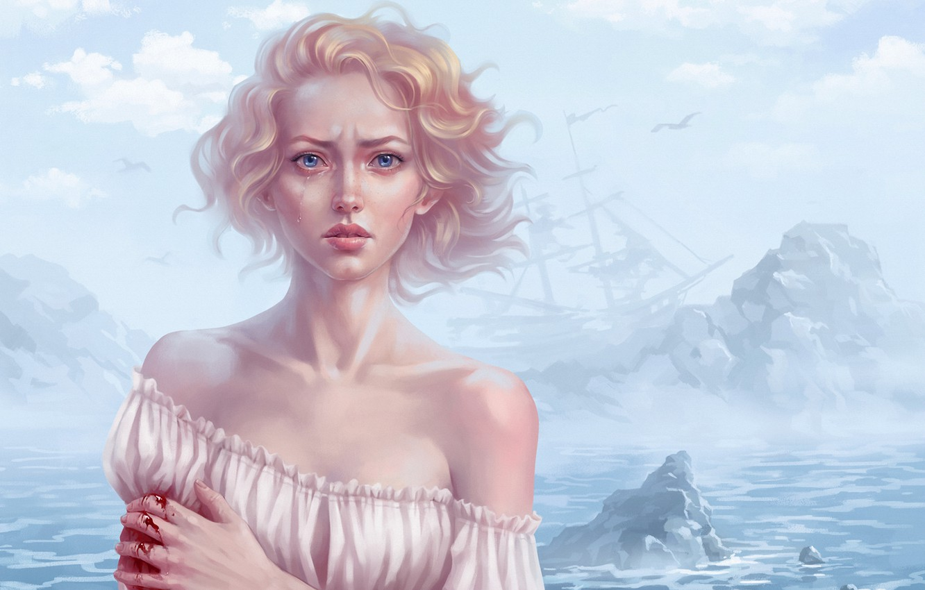 Photo wallpaper sea, clouds, the wind, blood, ship, seagulls, art, blonde, tears, drawn girl
