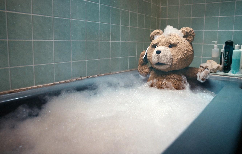 Photo wallpaper bear, bath, bathed, Ted, The third wheel