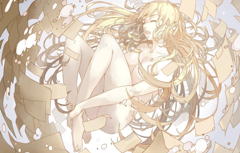 Photo wallpaper chest, girl, anime, art, paper, naked, nine