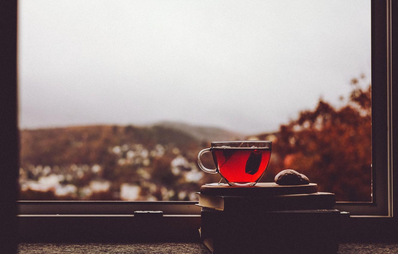 Photo wallpaper cup, window, village, tea, cloudy, rainy