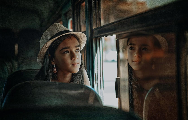 Photo wallpaper look, reflection, treatment, girl, hat