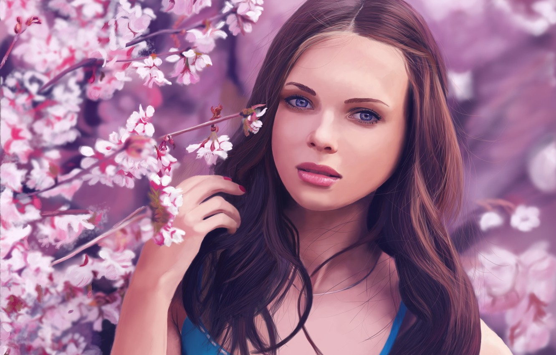 Photo wallpaper trees, Girl, Sakura, Brown hair, Painting, Blooming