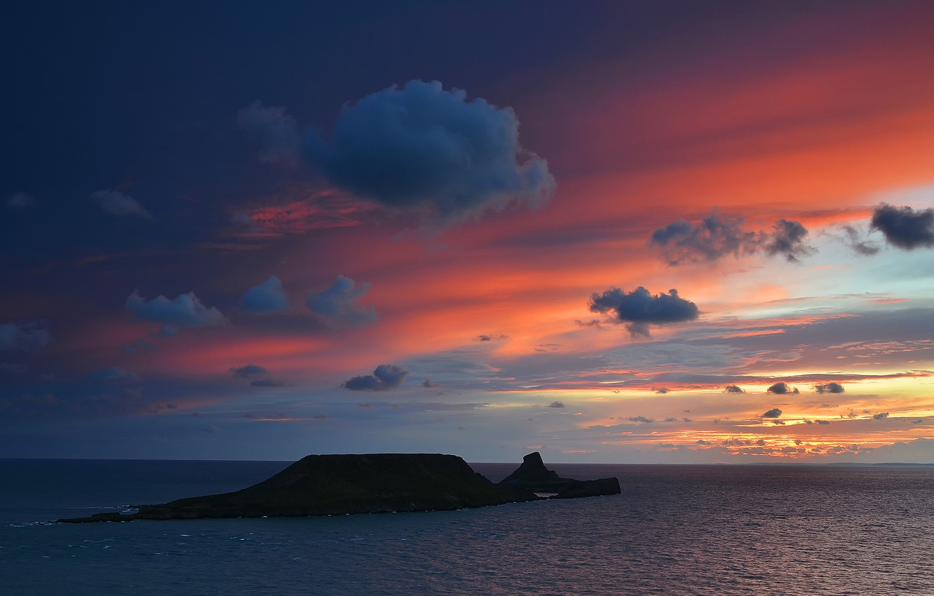 Photo wallpaper sea, the sky, clouds, sunset, the ocean, island, the evening, UK, Wales