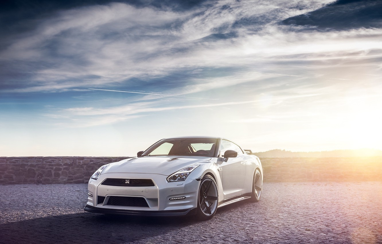 Photo wallpaper GTR, Nissan, Sky, Front, Sun, Lights, Day, White, R35