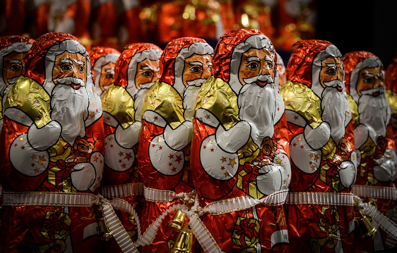 Photo wallpaper Christmas, Chocolate, Santa Claus