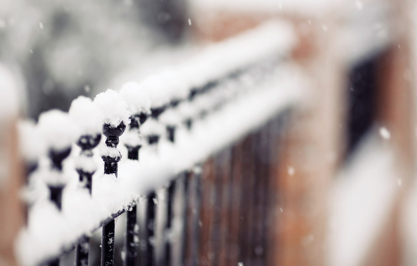 Photo wallpaper winter, snowflakes, nature, the fence, focus, fence, is, snow, fence