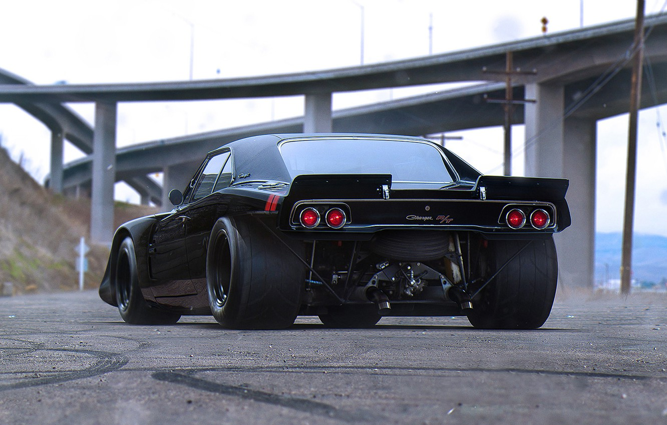 Photo wallpaper Muscle, Dodge, Car, Black, Charger, Tuning, Future, Drag, by Khyzyl Saleem, R/TK17