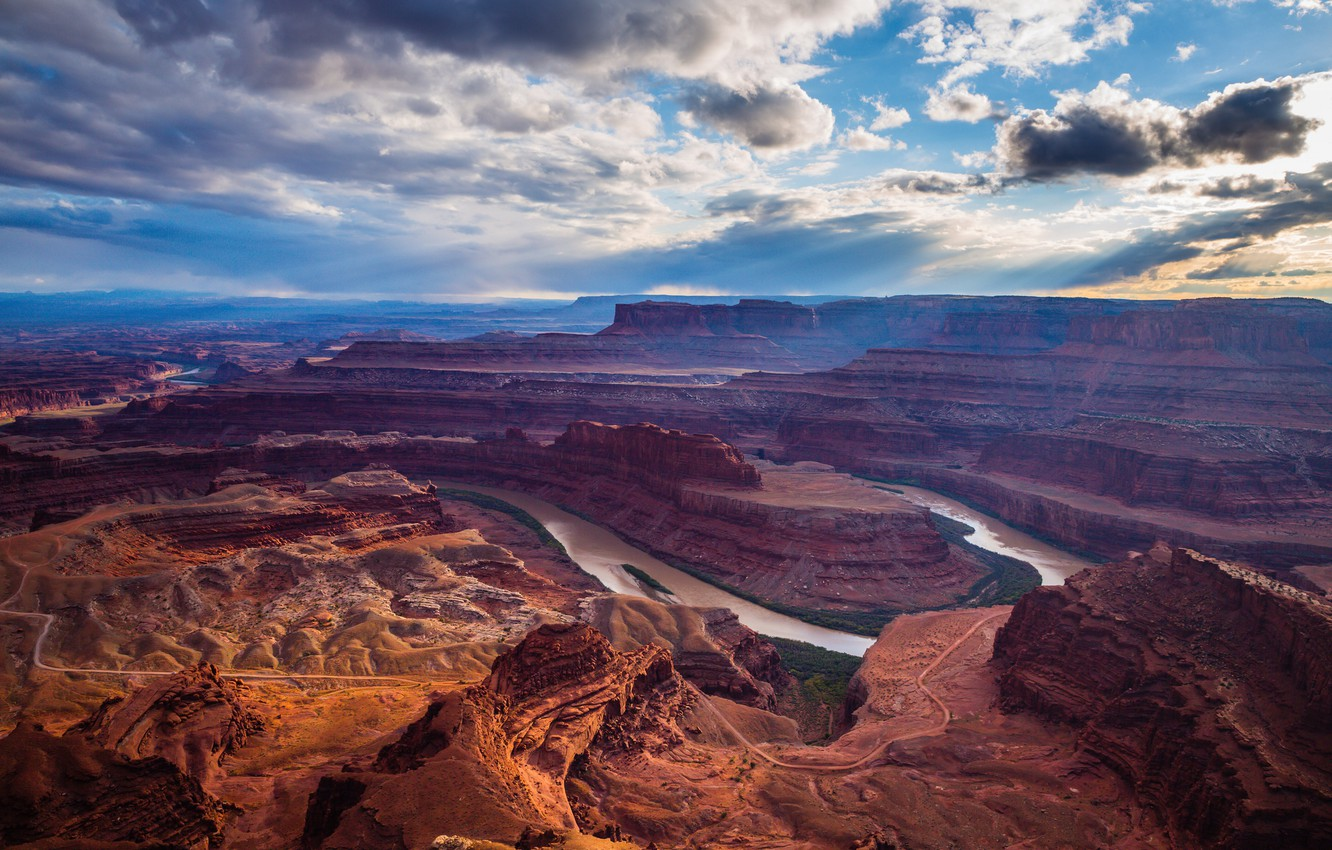 Photo wallpaper the sky, clouds, mountains, river, canyon