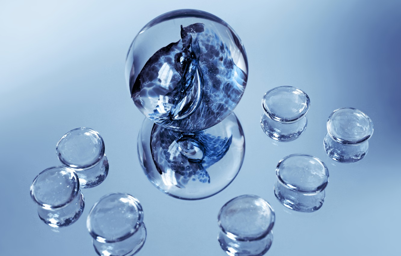 Photo wallpaper glass, balls, stones, fiction, mirror