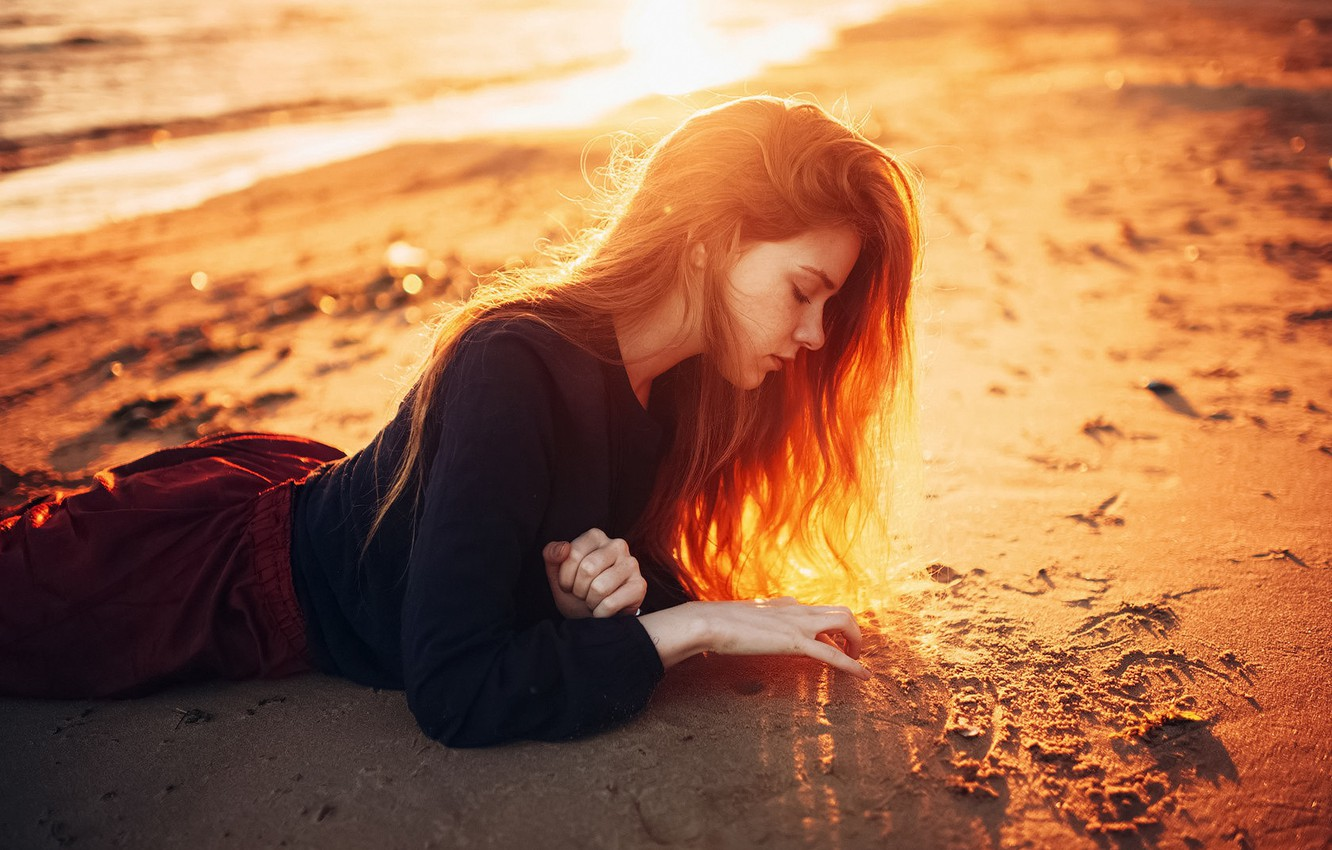 Photo wallpaper The sun, Sand, Sea, Beach, Girl, Hair