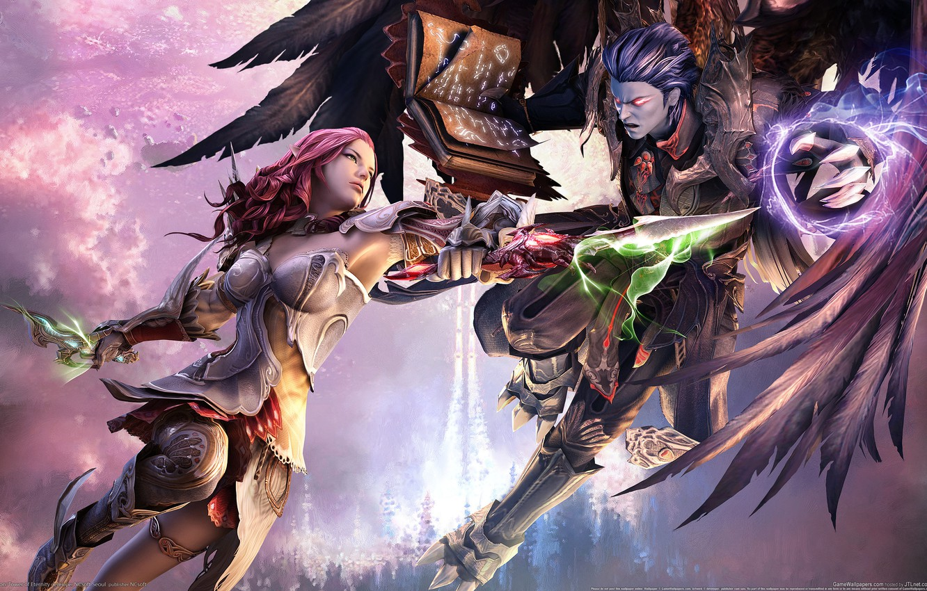 Photo wallpaper The battle, Wings, Tower of Eternity, Aion