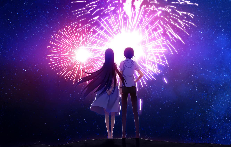Photo wallpaper the sky, stars, night, back, fireworks, two, date, art, grisa of no kajitsu, sasaki yumiko, …