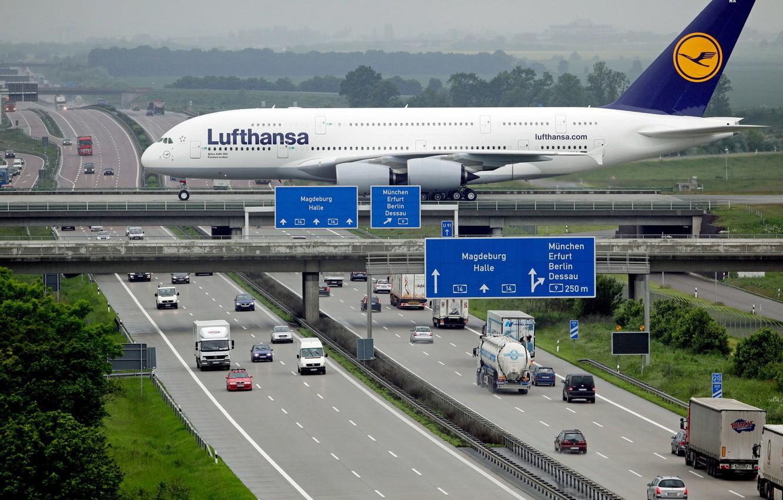 Photo wallpaper Road, Bridge, The city, Autobahn, Machine, City, Cars, Bridge, A380, Airplane, The plane, Lufthansa, Passenger, ...